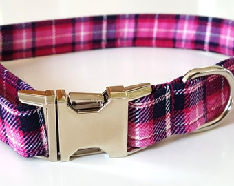 Dog Collar - Pink Plaid Check Dog Collar