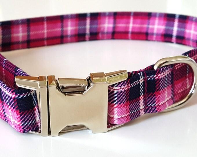 Pink Plaid Check Dog Collar