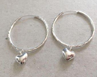 Sterling Silver Heart Hoop Earrings, Heart Charm Hoop Earrings, Large Hoop Earrings, Interchangeable Earrings, Modern Statement Earrings