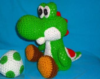 Yoshi pattern - crochet dinosaur pattern - crochet amigurumi pattern - crochet doll with egg pattern PDF Instant Download