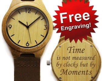 Engraved Wooden Watch, Wood Watches for Men, Mens Wood Watch, Husband Gift, Wooden Watch, Bamboo Watch, Watchwood, Personalized Wood Watch