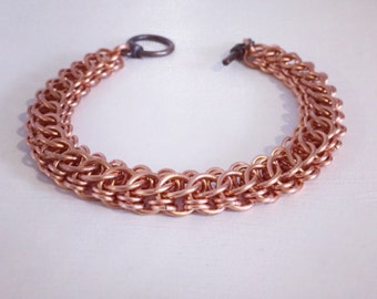 Copper Bracelet Men, Chainmaille Chain Link Bracelet, Mens Metal Jewelry, Wide Bracelet for Him, Chunky Bracelet Gift for Men, Brother Gift