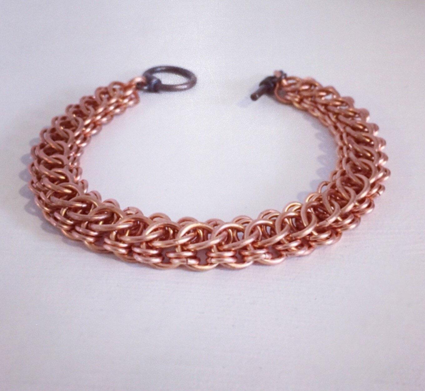 copper bracelet chainmaille chain link bracelet mens