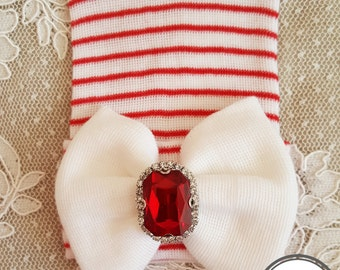 Red Stripe Hat With Rhinestone Newborn baby girl newborn hat newborn beanie hospital cap newborn girl newborn hat girl baby newborn