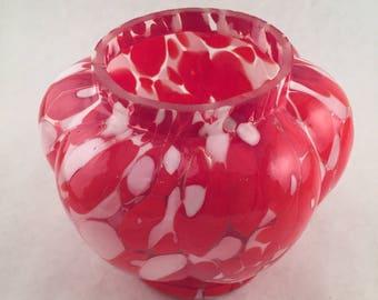 Rose Bowl, Vases, Small Rose Bowl, Red Glass Rose Bowl, Czech Rose Bowl, Czech Glass, Czech Flower Vase, Czech Vase, Czech Glass Vase