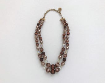 1960s Necklace / Vintage 1960s Beaded Necklace / Lisner Double Strand Necklace