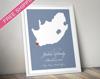 Personalized South Africa Wedding Gift : Custom Location and Map Print - Wedding guest book poster