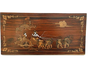 Lord Krishna Preaching Gita to Arjuna India Marquetry Inlaid Wood Art Picture Plaque