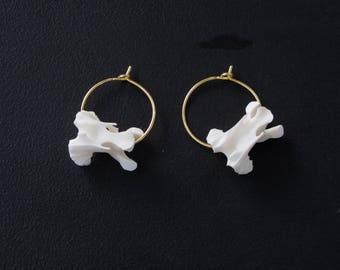 Vertebrae Hoops Earrings Gold Plated - Bone Jewelry