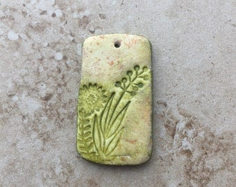 Handmade rustic green leafy flower faux stoneware polymer clay rectangular focal pendant