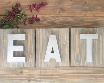 Shiplap Wood Eat Sign; metal letters, silver letters, eat letters; eat signs; eat sign for kitchen; wooden signs; kitchen decor; farmhouse