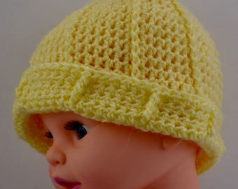 Adorable Yellow Baby Hat with Ridges and Turned Up Cuff