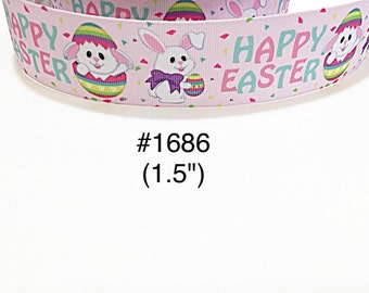 """3 yard - 1.5"""" Happy Easter Bunny in Egg Pink Grosgrain Ribbon Hair bow Craft Supply"""