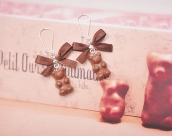 earrings bear marshmallow chocolate