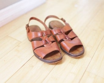 vintage woven brown leather strappy buckle sandals womens 6 1/2 *