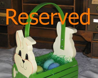RESERVED for SennMS - Personalized Handmade Wooden Children's Easter Bunny Basket or Table Centerpiece - Leaf Green- Ready to Ship