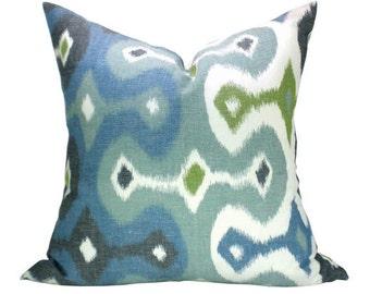 SECONDS- Darya Ikat pillow cover in Sky