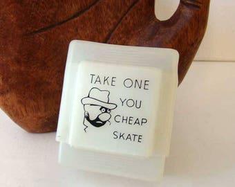 Take one you cheap skate cigarette case, vintage plastic cigarette case, made in Hong King