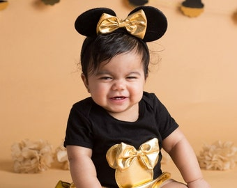Minnie mouse outfit-Minnie mouse bloomers- black and gold minnie-minnie mouse-minnie mouse party-minnie mouse birthday