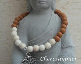 Yoga bracelet wood ceramic natural Lotus