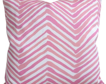 High End Designer Decorative Pillow Cover-Quadrille-Alan Campbell-Zig Zag Multi in Pink-Indoor/Outdoor-Single Sided-Accent Pillow