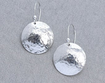 Sterling Silver Round Domed Earrings, Sterling Silver Earrings with Hammered Finish, Hammered Silver Disc Earrings Made To Order