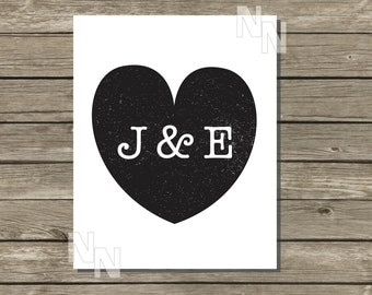 Personalized Heart Stamp with Ampersand and Initials