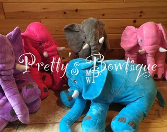 Childrens Stuffed Elephant Pillow-- Personalized Plush Elephant-- Personalized Christmas Gift-- Monogramed Elephant-- Personalized Pillow
