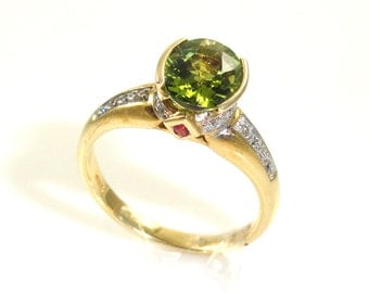 CLEARANCE! Green Tourmaline Oval 2.0 Carat & Diamond Ring in 14k Yellow Gold (4834)