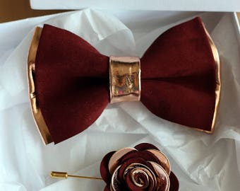 Rose Gold and burgundy leather bow tie for men, rose gold wedding bow tie,wedding burgundy boutonnere, genuine rose gold leahther bow tie