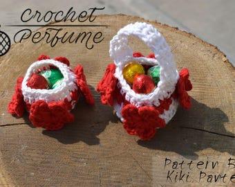 Flower Mini Crochet  Easter Baskets Pattern- Party Favor Baskets Pattern- Candy baskets crochet pattern- easter gift- easter decoration