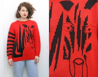 SALE Vintage 80s Sweater | 80s Red Acrylic Striped Zebra Sweater | Medium M