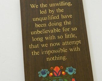1970s Inspiration Wall Hanging Wood Plaque Made In Canada