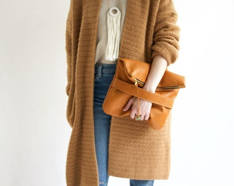 The Mary Foldover Clutch // Golden Tan