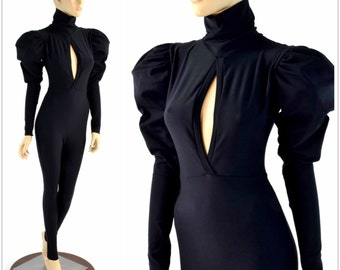 "High Turtle Neck ""Victoria"" Puffed Sleeve Catsuit with Vertical Keyhole Bodice & Back Zipper in Matte Black 154235"