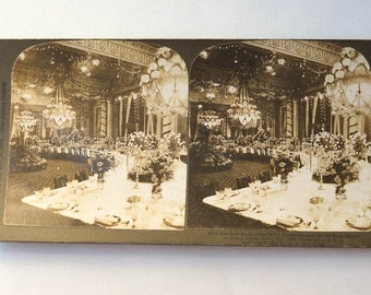 StereoView of a White House Dinner