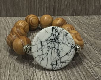 Wooden Stretch Bracelet with Black & White Acrylic feature Bead, bangle, Womens bracelet,  bracelet, Statement Piece