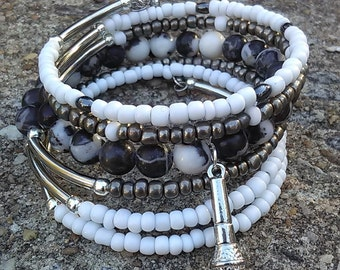 SPOTLIGHT - Coil Memory Wire Wrap Bracelet, Affirmation Jewelry, Cause Jewelry, Benefits Homeless Mothers of Atlanta
