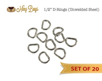 1/2 Inch D-Rings /  Unwelded D-Rings  / Handbag Hardware for Purses, Bags in Nickel Finish (Set of 20)