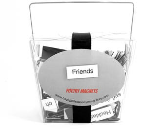 Friends Poetry Magnet Set - Refrigerator Poetry Word Magnets - Free Gift Wrap