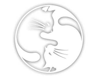 Cat Yin Yang decal