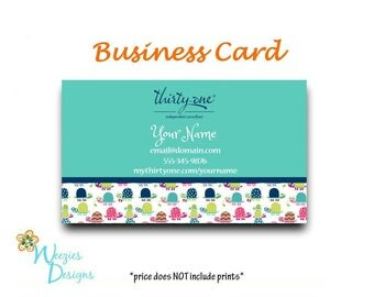 Thirty-One Topsy Turtles Business Card, Direct Sales Marketing, Independant Consultant, Directs Sales Business Card