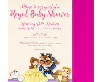 beauty and the beast baby shower invitation beauty and the beast
