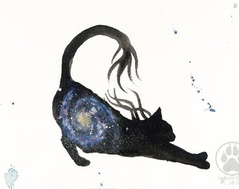 ORIGINAL Watercolour Painting - Spiral Galaxy Cat.
