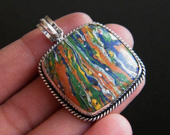 "Rainbow Calsilica Pendant, 1.9"" Single Bail Pendant, Designer Handmade Pendant Jewelry SH-1370"