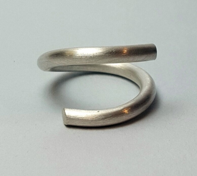 modern sterling silver ring heavy silver ring by