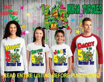 Ninja turtle Birthday BOY Family theme Shirts for the entire family Girl Dad Mom Age Name Custom Theme Raglan T-shirt Red Green turtles