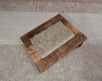 Wooden Cat/Kitten Scratching Pad with Sisal Rope Provincial Brown in Color