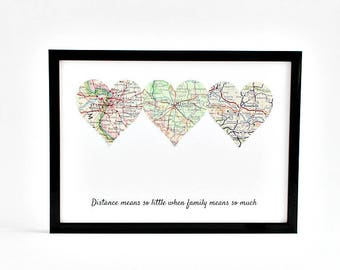 Personalized Long Distance Family Gift, Long Distance Parents, Grandparents Distance Gift, Customized Distance Map, Anniversary Gift