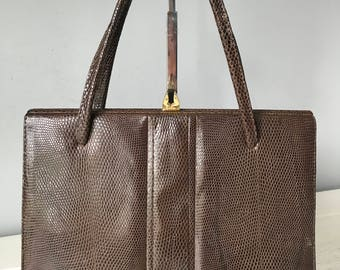Vintage Lizard Skin Handbag Retro Brown Lizard Skin Bag Vintage Bag Kelly Bag 1960s Bag